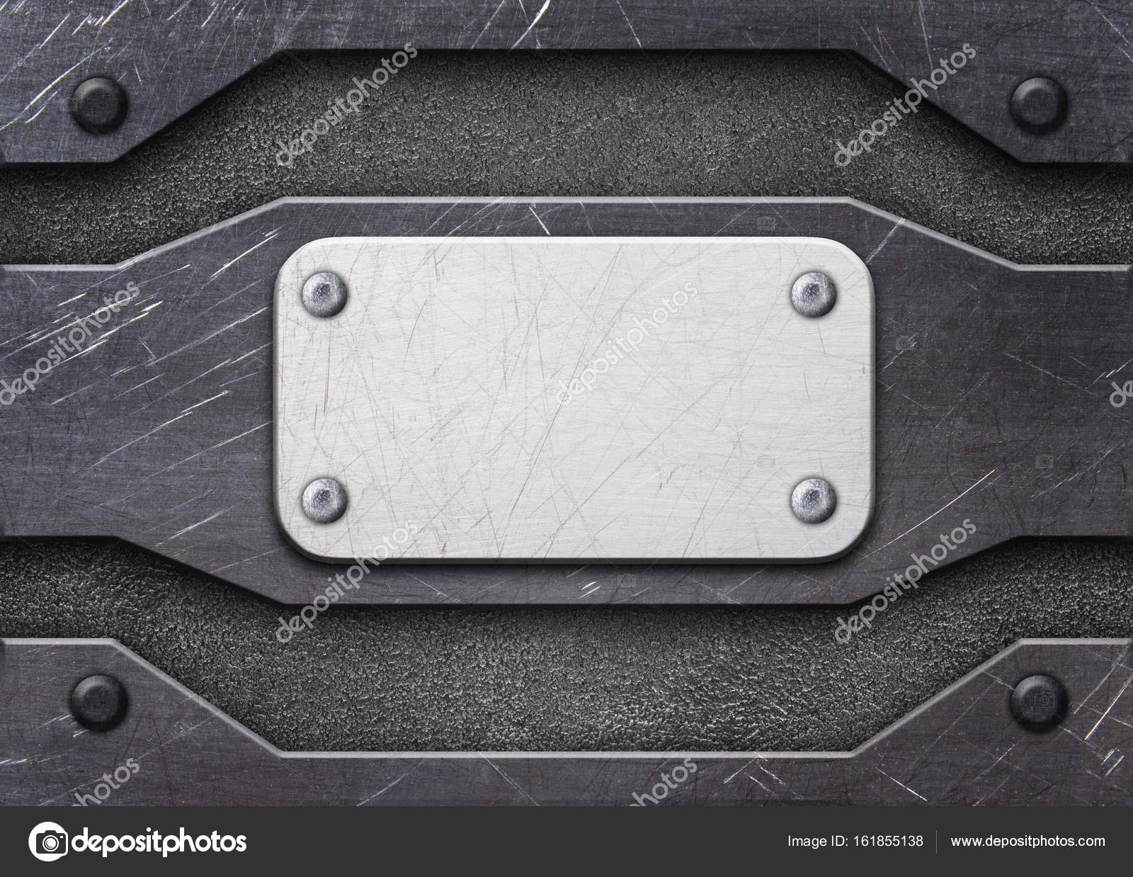 frame de aço, placa de metal velho fundo com rebites, 3d, ilustr ...