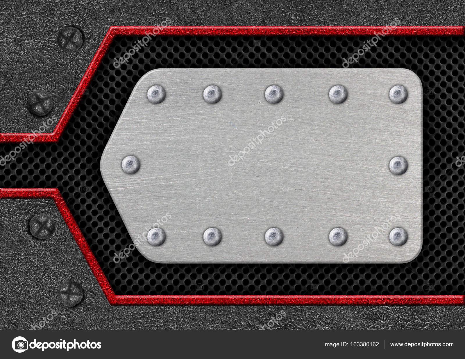 marco de acero para Metal fondo del texto con malla roja, 3d ...