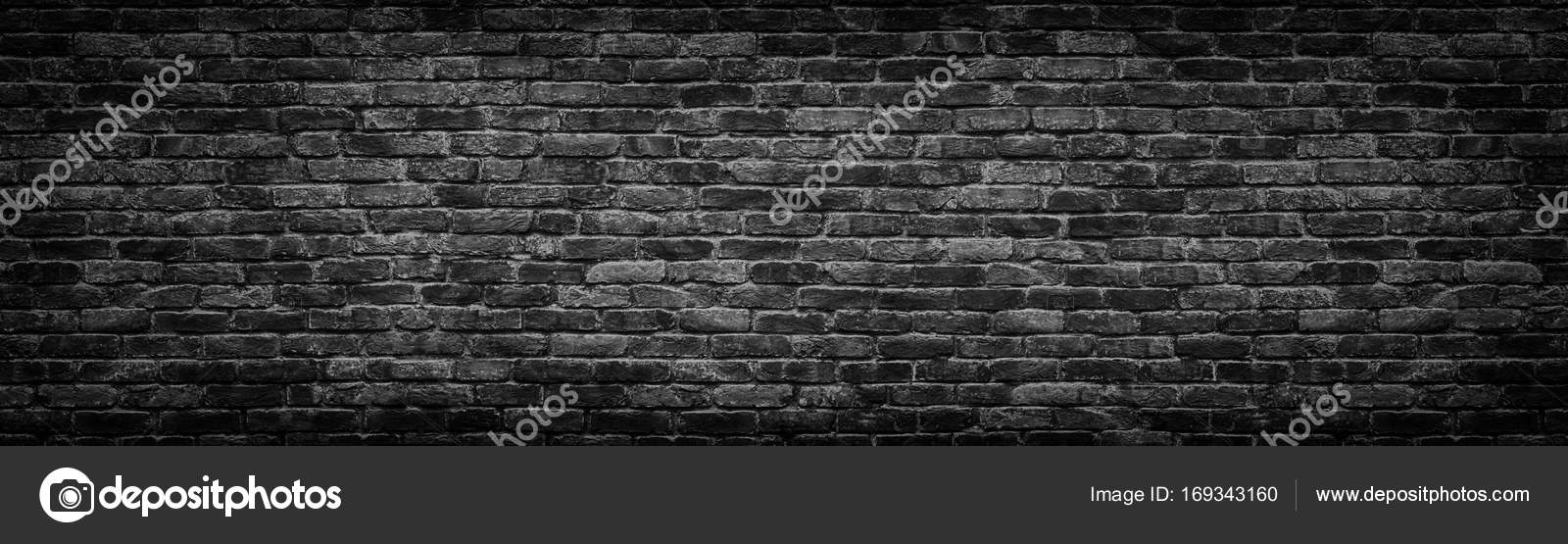 Black brick wall panoramic background for design stock photo black brick wall panoramic background for design stock photo voltagebd Images