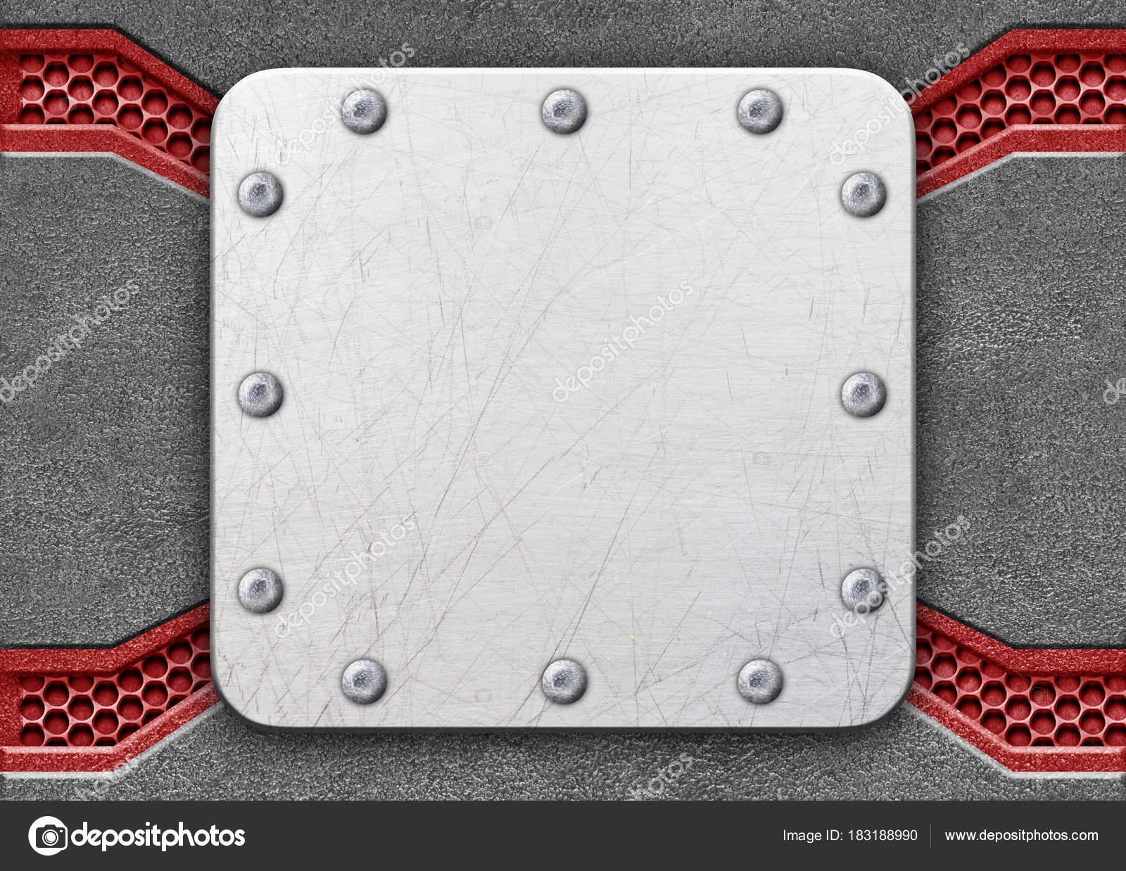 placa metálica sobre una red de malla patrón de hierro como fondo ...