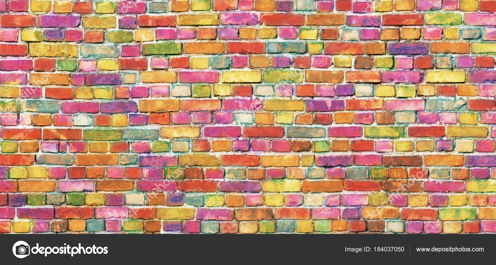 Color Brick Wall, Multi-colored Masonry. Rainbow