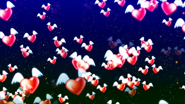 HD Loopable Background with nice abstract flying hearts