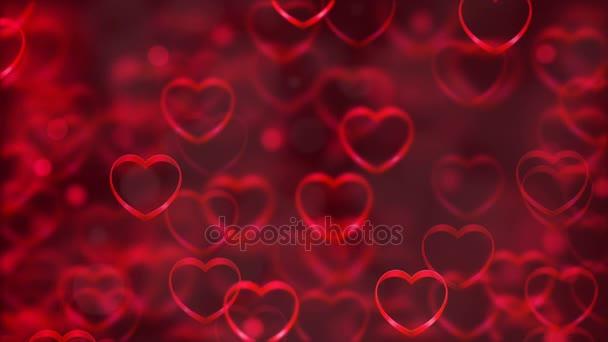 Abstraktní Loopable pozadí, létající srdce