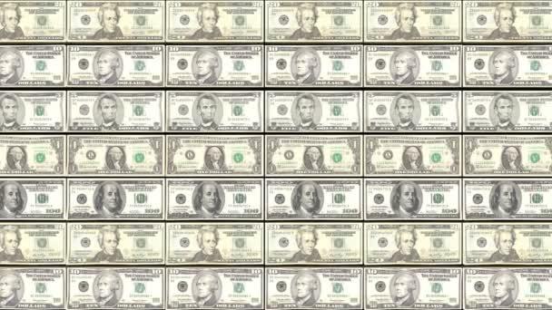 HD Loopable pozadí s tiskem dolar bill peníze