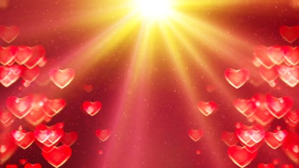 HD Loopable Abstract Background with nice flying hearts