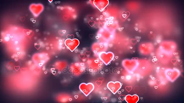 Valentines day background, flying abstract hearts and particles