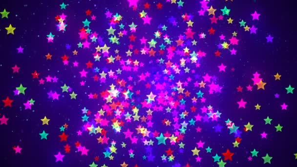 Abstract Loopable Background with nice multicolor flying stars