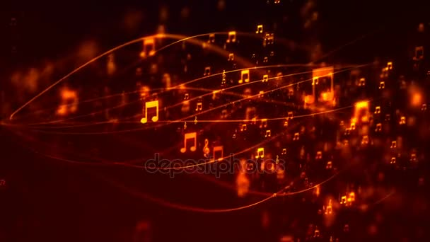 Hd Loopable Arka Plan Güzel Uçan Müzik Notaları Ile Stok Video
