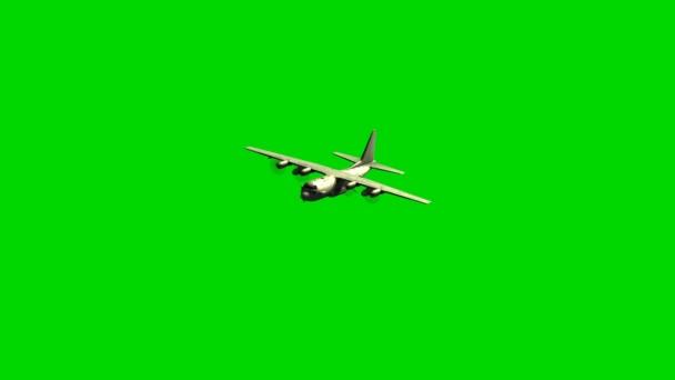 Vojenský transportní letoun Lockheed v letu na zelené obrazovce