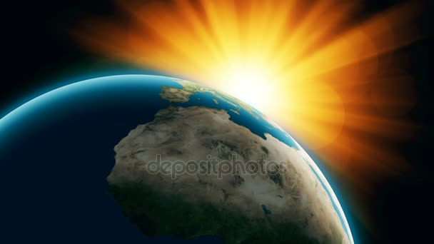 Realistic Planet Earth with sinrise from space