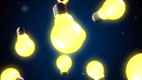 Abstraktní Cgi motion grafika a letí žárovky