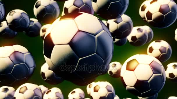 abstrakte CGI-Bewegungsgrafik mit fliegenden Fußballbällen