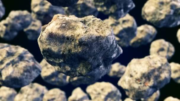 Abstraktní Cgi motion grafika s létající asteroidy