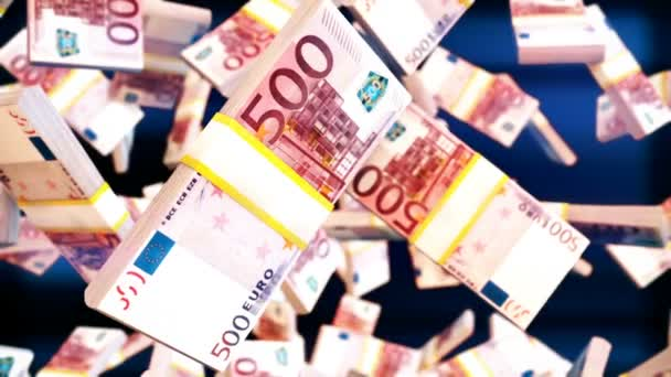 Abstract CGI motion graphics with falling euro bills