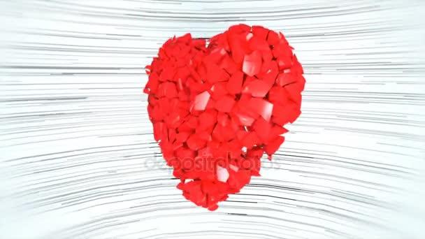Explodující červené srdce na bílém podkladu. 4k