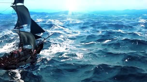 Stará pirátská loď v oceánu. Bez problémů Loopable