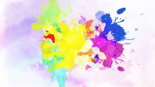 Barevné inkoustové kapky ve vodě. Padající barevné inkoust ve vodě s barevným pozadím