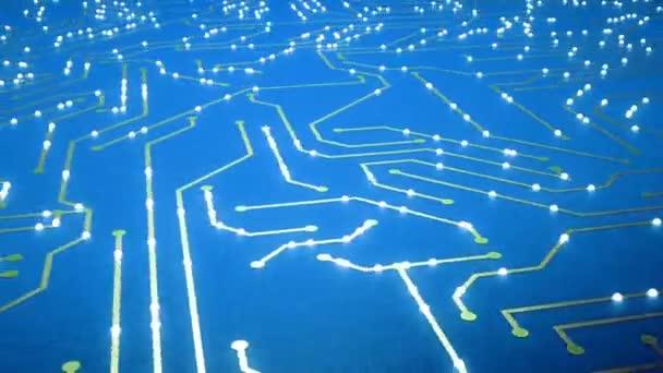 Létání nad čip s letící elektrony. Modrá barva