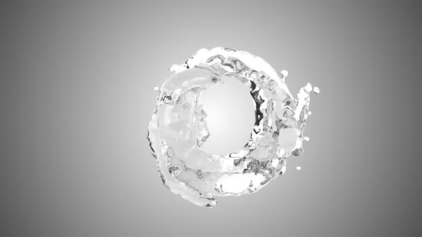 Stříkající voda s bublinkami vzduchu s bílým pozadím