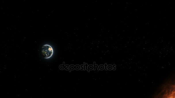 Realistic planet Earth and Sun from deep space