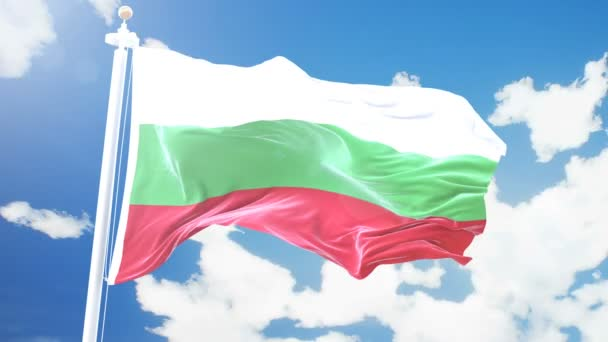Realistic flag of Bulgaria waving against time-lapse clouds background. Seamless loop in 4K resolution with detailed fabric texture.