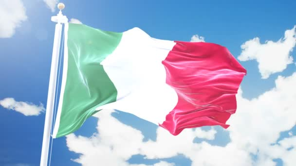Realistic flag of Italy waving against time-lapse clouds background. Seamless loop in 4K resolution with detailed fabric texture.
