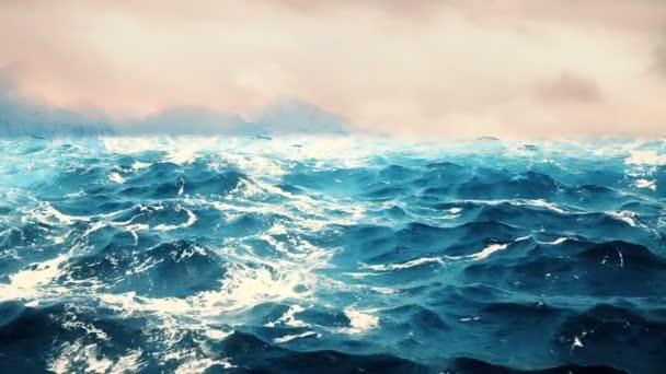Vysoce kvalitní animace mořských vln s krásnými horami na pozadí. Opakování.