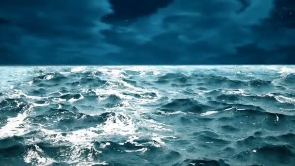 Kiváló minőségű animáció óceán hullámai, szép éjszakai égbolton a háttérben. Hurok.