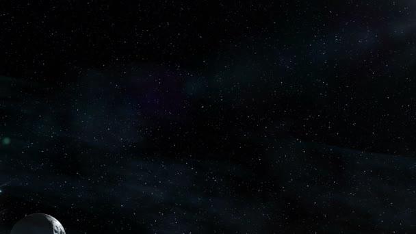 Létající hvězda pole v prostoru v blízkosti krásné planety s asteroidy