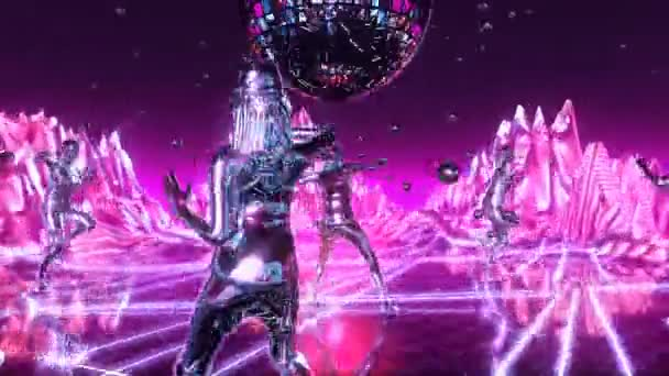 Beautiful girls dancing and moving on the neon dance planet. Loopable.