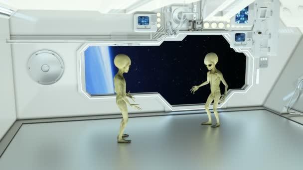 Cizinců na vesmírné lodi dohadovat na pozadí planetě Zemi. Futuristický koncept Ufo