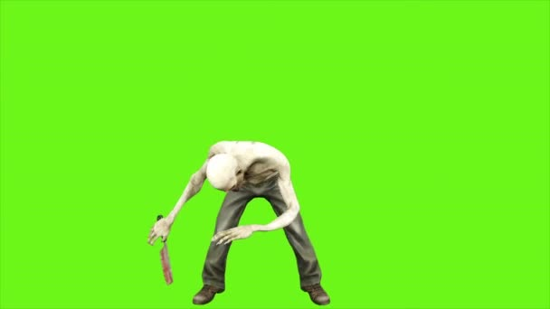 Zombie útoky - oddělená na zelené obrazovce. Loopable. 4k