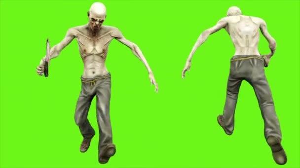 Zombie běží - oddělená na zelené obrazovce. Loopable. 4k