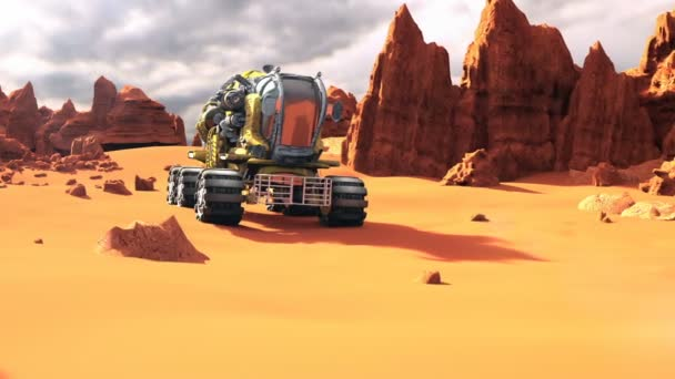 Mars Rover on the Red Planet. A futuristic concept of a colonization of Mars.