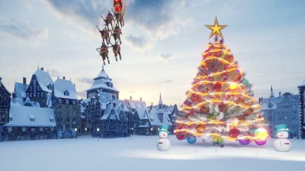 Vánoční stromek s barevnými míčky. Santa Claus na saních s vánočními soby. Sněhuláci a vánoční a novoroční dekorace a dárky. Malé město v očekávání dovolené.