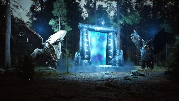 Fantastický světelný prastarý portál do jiného světa, střežený pohádkovými zvířaty, v tajemném, temném lese.