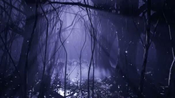 Dunkler mystischer Nebelwald. Ein märchenhafter Gruselwald mit hohen Bäumen im dichten Nebel.
