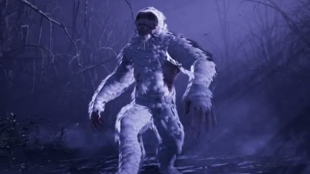 Bigfoot běží v noci mlhavým mystickým lesem. Yeti kráčí v temném, děsivém lese. Animace pro pohádkové, fiktivní nebo fantasy pozadí.