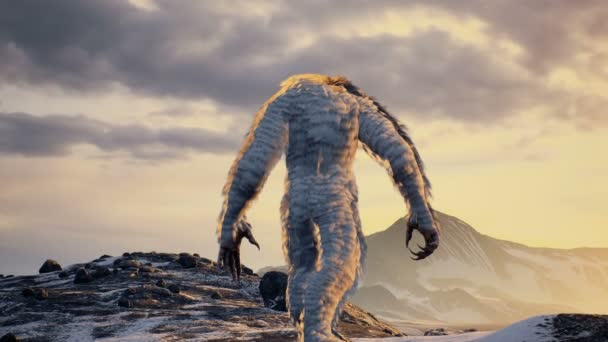 Der Yeti genießt den morgendlichen Sonnenaufgang in den wunderschönen schneebedeckten Bergen. Yeti in den Winterbergen. Animation für märchenhafte, fiktionale oder fantastische Hintergründe.