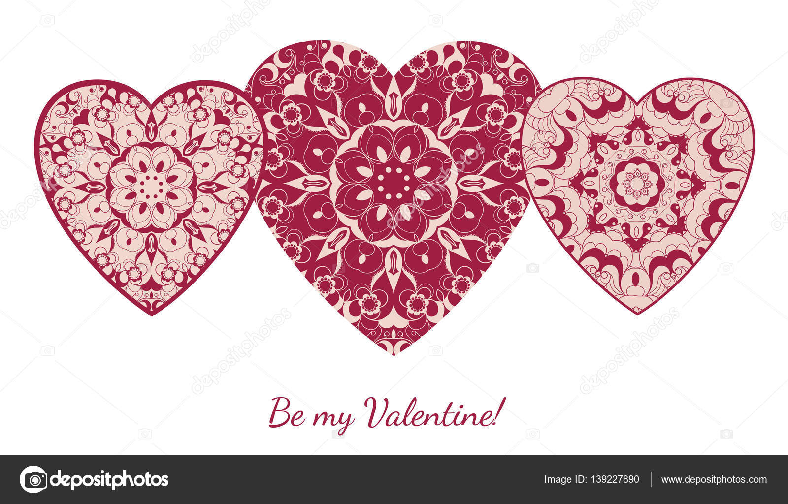 Decorative Valentine Greeting Card With Floral Ornate Hearts Vector