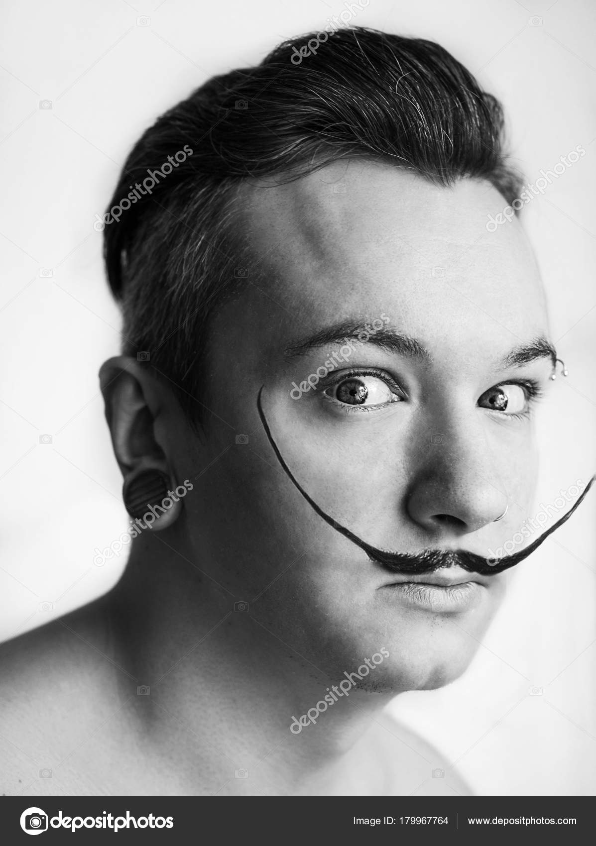 White Guy Mustache Pompadour Hairstyle Depicts Salvador Dali Stock