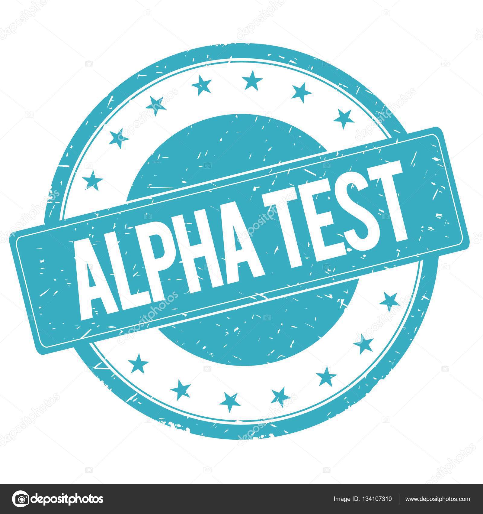 ALPHA TEST stamp sign text word logo cyan blue. — Photo by ionutparvu