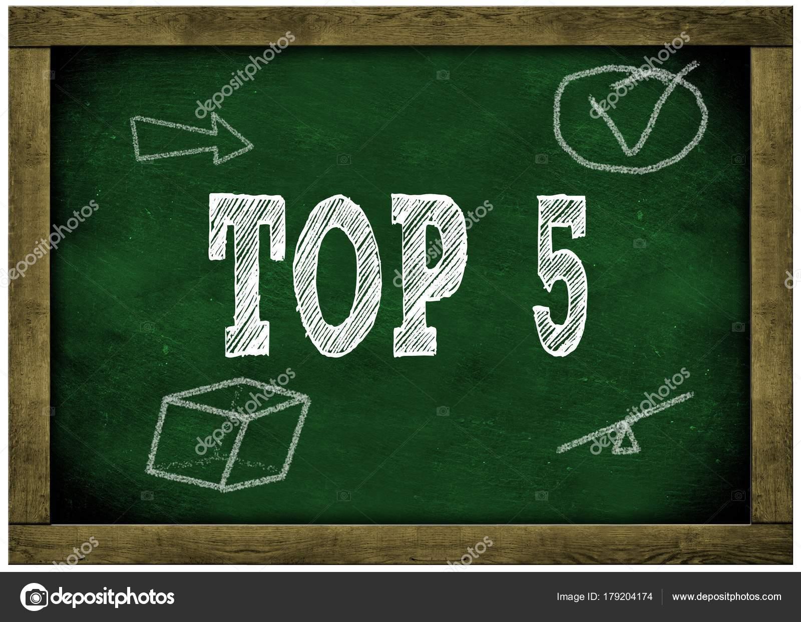 Pizarra marco madera verde con Top 5 mensaje manuscrito en tiza ...