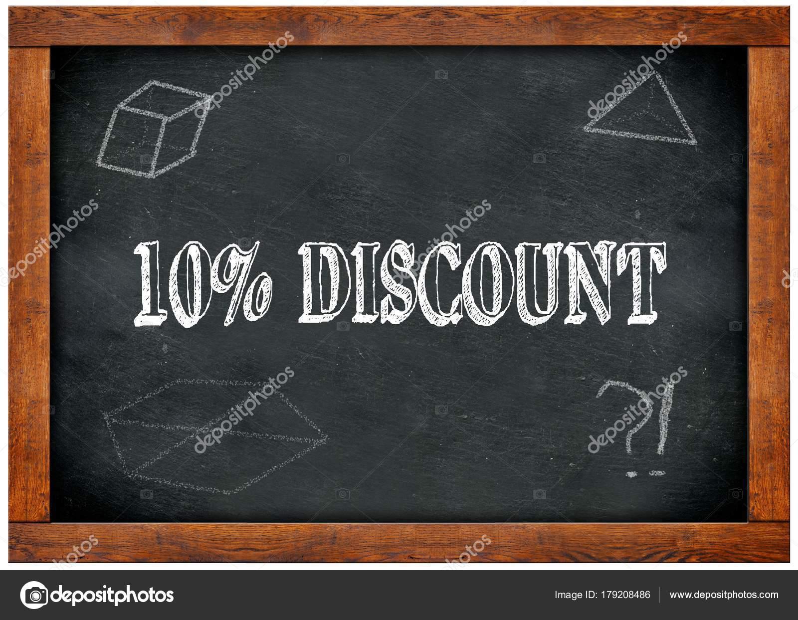 Pizarra marco madera con 10 por ciento de descuento texto escrito ...