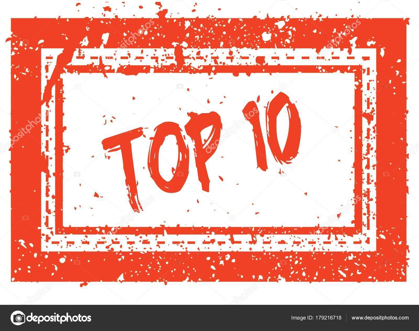 Top 10 en el sello de goma de marco cuadrado naranja con textura ...