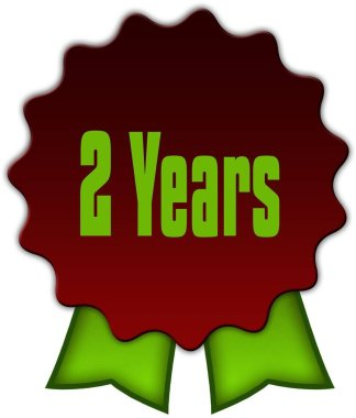 2 YEARS on red seal with green ribbons.