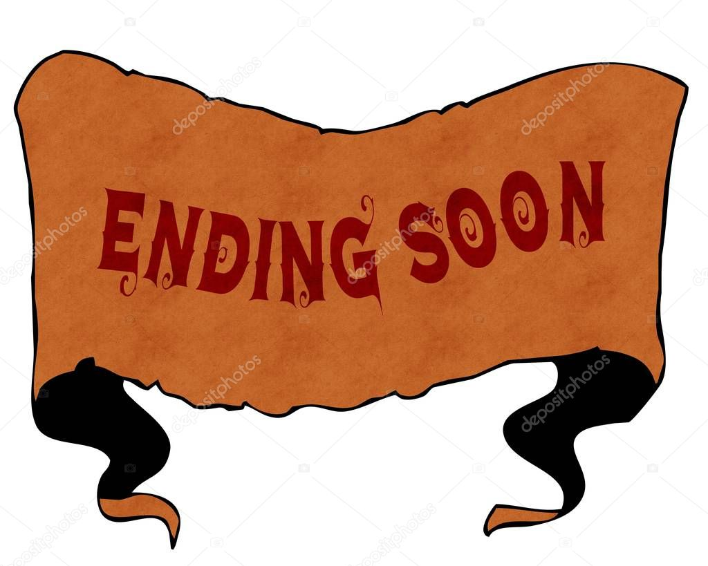 ENDING SOON written with vintage font on cartoon vintage ribbon.