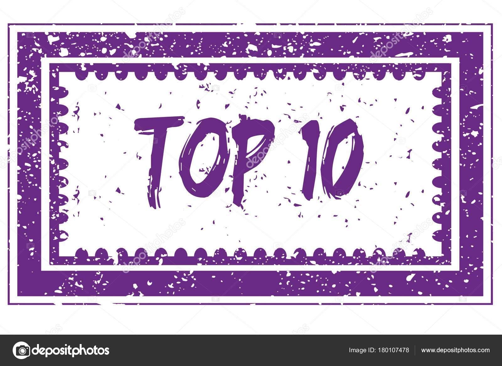 Top 10 en el sello de marco cuadrado magenta grunge — Foto de stock ...