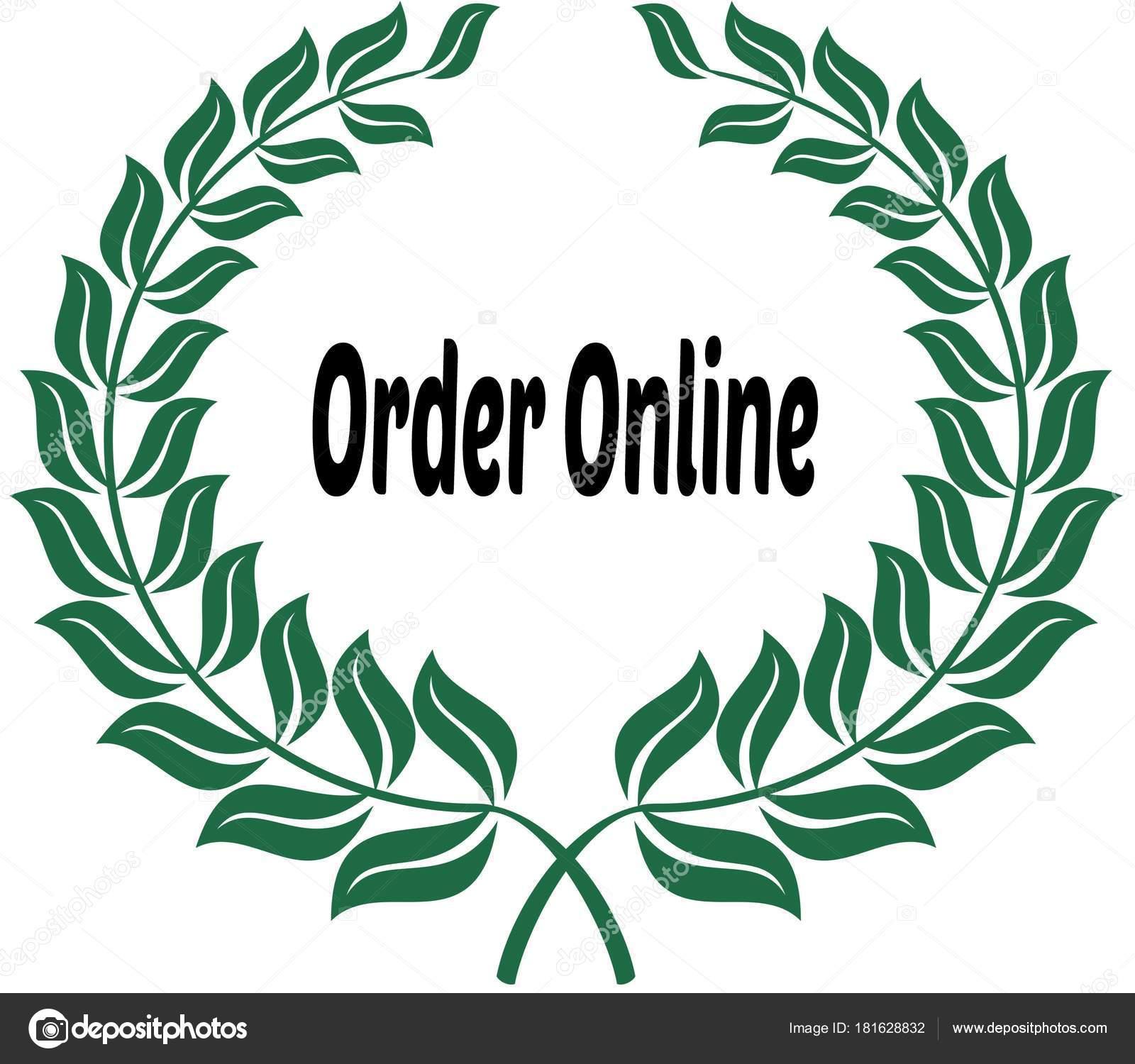 Order online on green laurels sticker label illustration image photo by