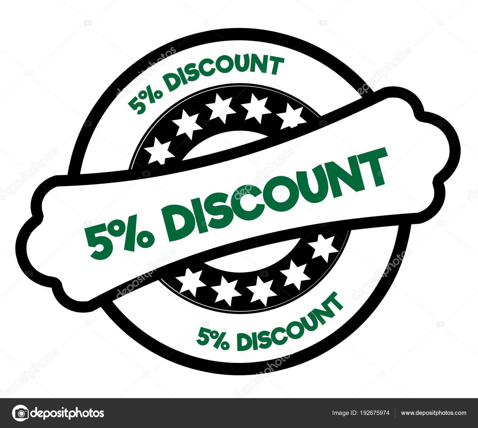 Black and green 5 PERCENT DISCOUNT stamp  — Stock Photo © ionutparvu